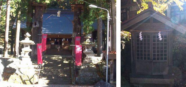 左:太鼓橋から拝殿を望む。右:神泉社