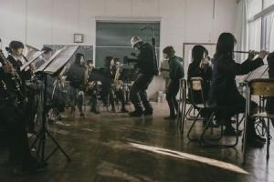 吹奏班の撮影の様子