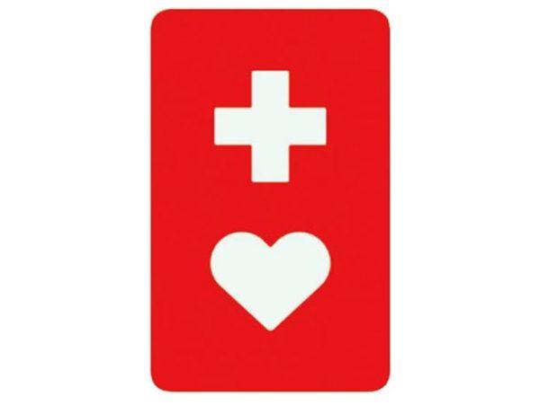 赤い長方形に、白い十字とハートの形がデザインされたマークです。