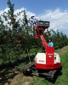 これがあれば高い場所の収穫も容易です。傾斜度が5度以上の圃場での使用は危険とのこと。