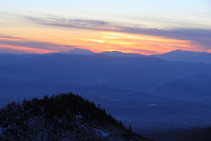 御嶽山の夕焼け